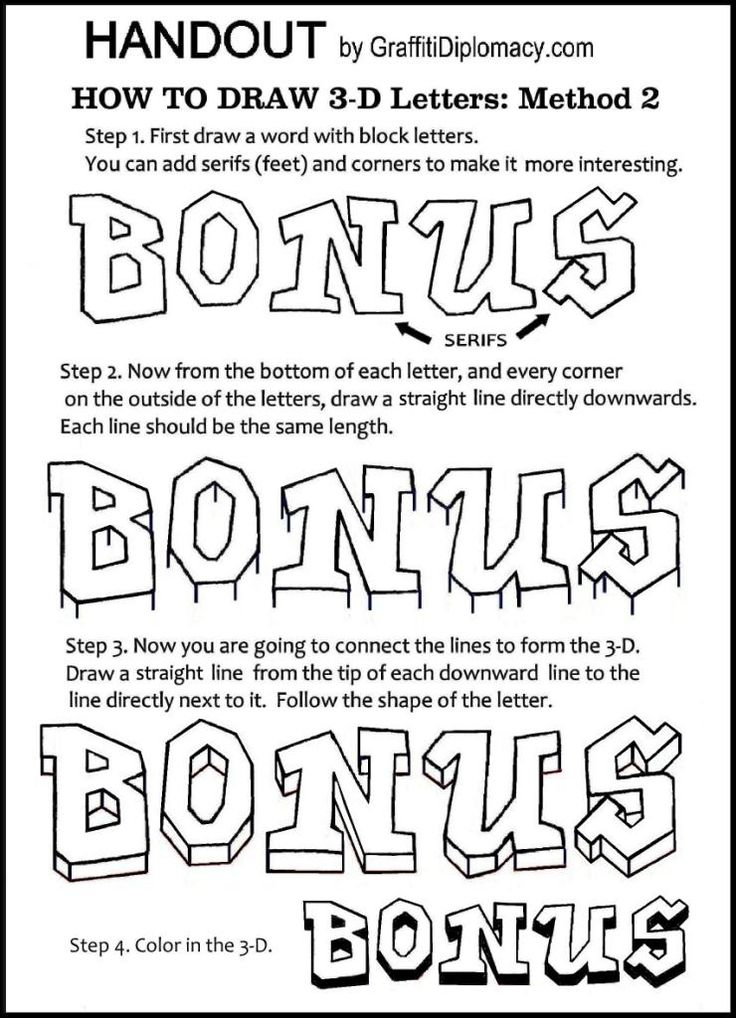 DRALearn How To Draw 3-Dimensional Letters - free Handout - Awesome graffiti method 2