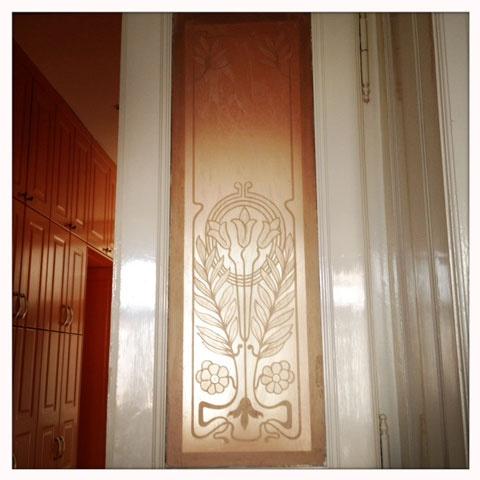 window in an art nouveau building, Budapest