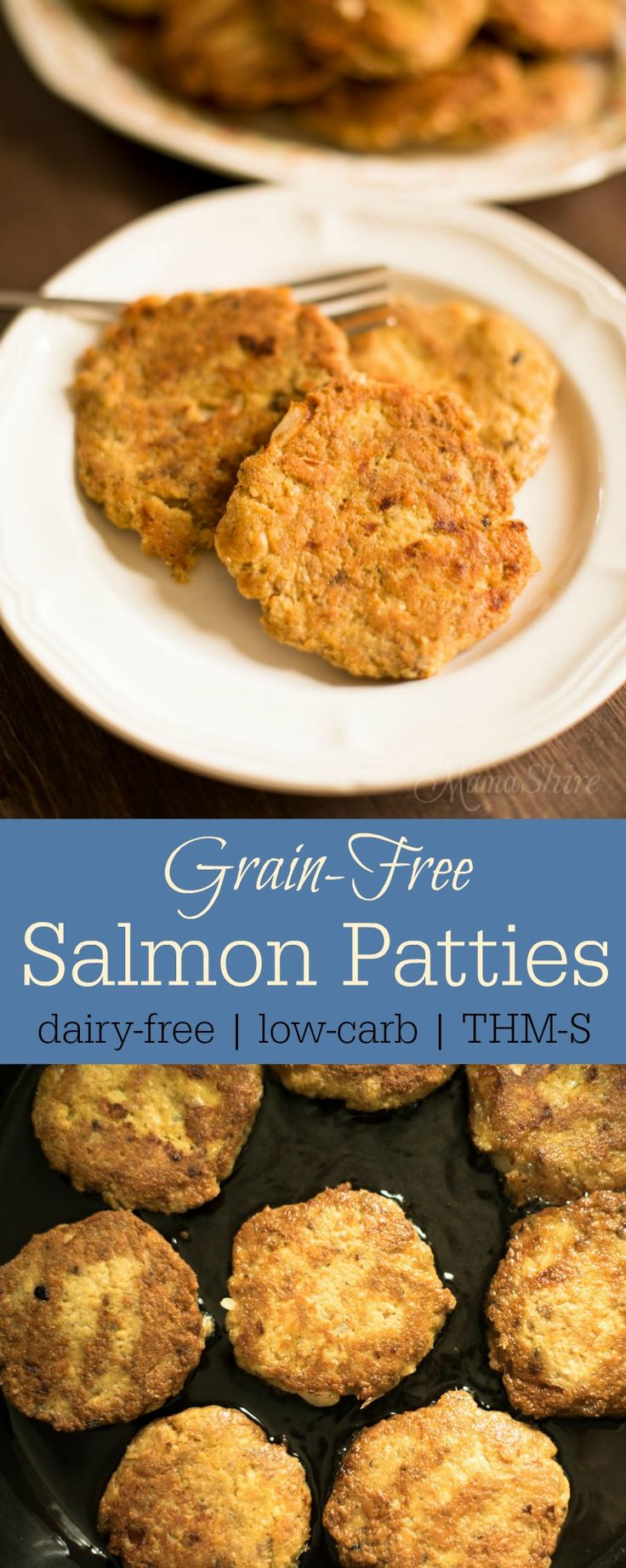 Grain-Free Salmon Patties. Healthy salmon patties that are delicious and so easy to make. Nut-free, Dairy-free, Low-carb. THM-S