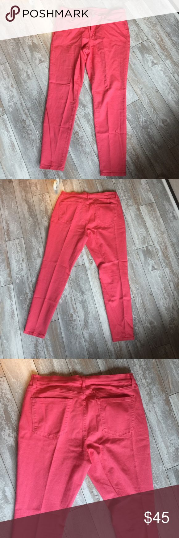 "LOFT Orange ""Super Skinny"" Jeans.17350 Orange jeans have a 29"" inseam. Ankle measurement is 11"" in circumference. Waistband is 37"" in circumference x 1.5"" wide, 5 belt loops, 4"" long metal zipper and metal button front closure. Hip measurement is 44"" around. 5"" deep x 6.5"" wide right and left side pockets and 2.5"" x 2.5"" watch pocket in right side pocket. 6.5"" wide x 6.5"" deep left and right rear patch pockets. 91% cotton, 7% polyester, 2% spandex. Machine washable and dryable. NWOT. LOFT…"