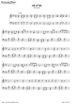 Next song I want to learn how to play:  All of Me-John Legend Sheet Music Preview 1