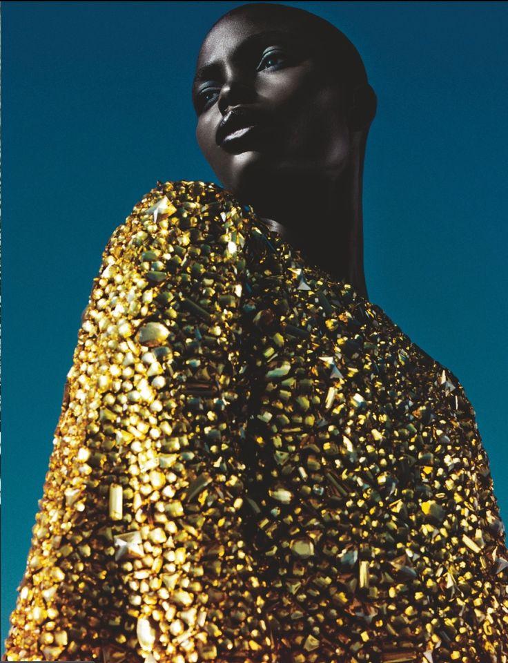 pinterest.Com/fra411 #black #beauty Jeneil Williams by Txema Yeste for Numéro #150 February 2014