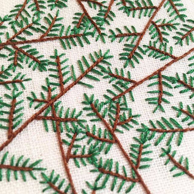 Branching out  Peek of a new piece inspired by Colorado pine trees. New work coming soon! If you sign up for my newsletter (via the link in my profile) you'll get 1st access to the collection #happycactusembroidery