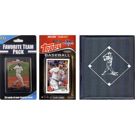 C Collectables MLB Boston Red Sox Licensed 2014 Topps Team Set and Favorite Player Trading Cards Plus Storage Album