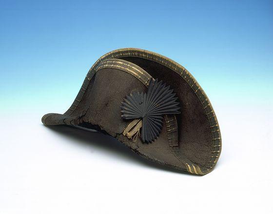 Bicorne hat worn by Horatio Nelson, 1st Viscount Nelson, 1st Duke of Bronte - circa 1800.