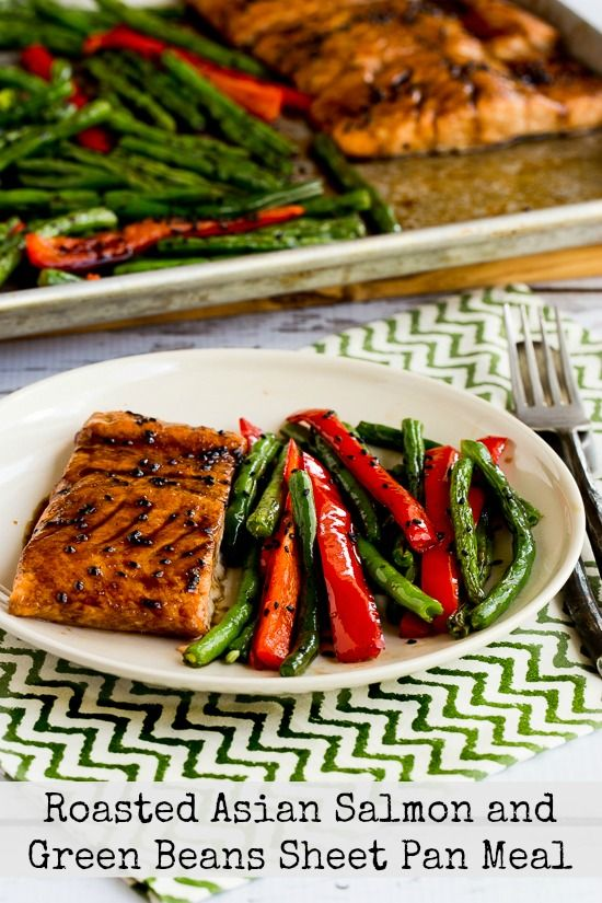 Roasted Asian Salmon and Green Beans Sheet Pan Meal @ KalynsKitchen.com -- This looks delicious!  The dipping sauce looks similar to the sauce for my salmon at Colton's Steakhouse.  Gotta try this one!!