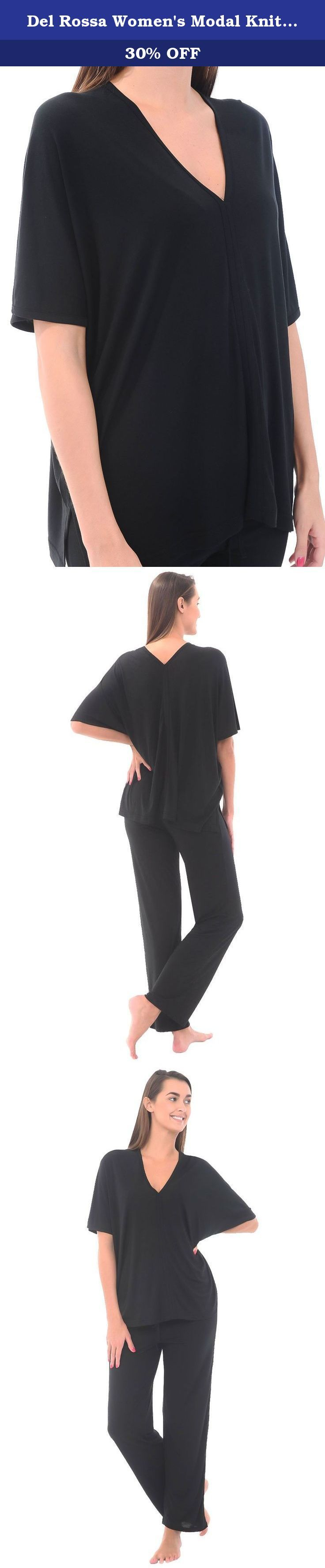 Del Rossa Women's Modal Knit Pajamas, Long Loose V-Neck Pj Set, Medium Black (A0412BLKMD). These soft, long knit pajamas from Alexander Del Rossa are comfortable, durable, and classy. Made from a premium 65% modal, 35% polyester knit blend, this womens pj set is breathable and easy on the skin. Designed with you in mind, this set is perfect for lounging around the house - even when guests are present. Rich in features, we trust that these pajamas for women will not disappoint. Pajama...