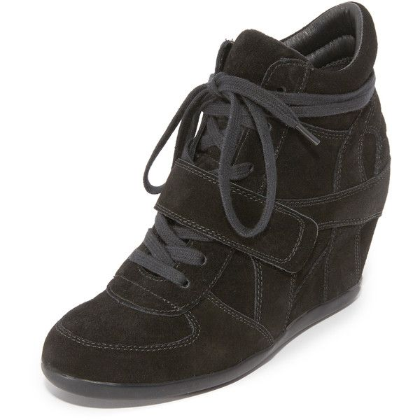 Ash Bowie Wedge Sneakers (270 AUD) ❤ liked on Polyvore featuring shoes, sneakers, black, black shoes, lace up wedge sneakers, black leather shoes, ash sneakers and black hidden wedge sneakers
