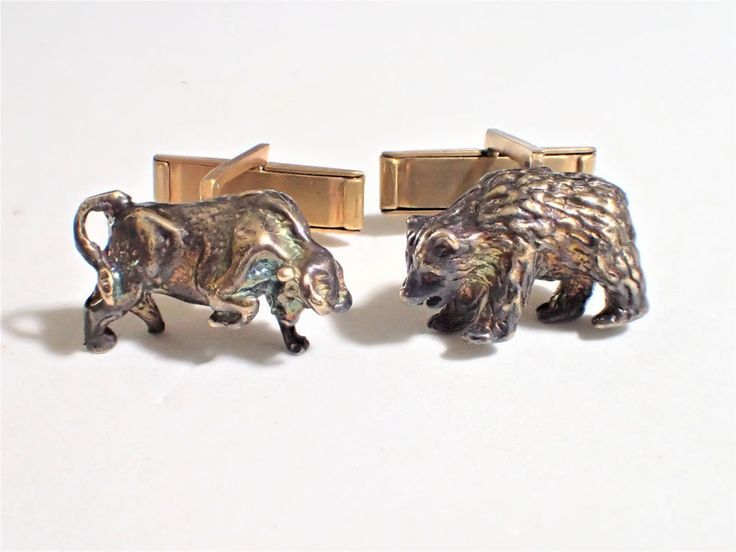 Vintage Sterling Vermeil Bear and Bull Wall Street Stock Market Cufflinks  #Unknown