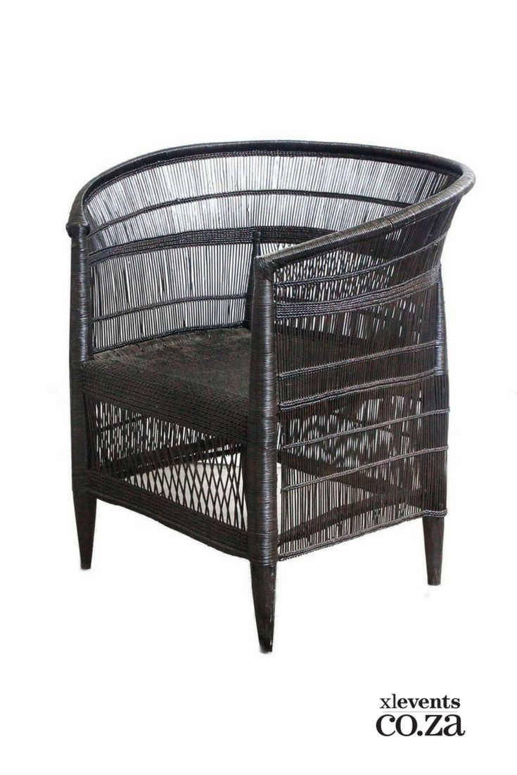 Black Malawian Can Chair available for hire for your wedding, conference, party or event. Browse our selection of chairs and furniture in our online catelogue.