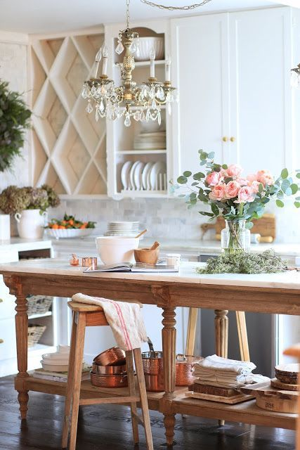 A charming vintage inspired kitchen island - FRENCH COUNTRY COTTAGE #frenchcountrycottage #kitchendecor #frenchvintage