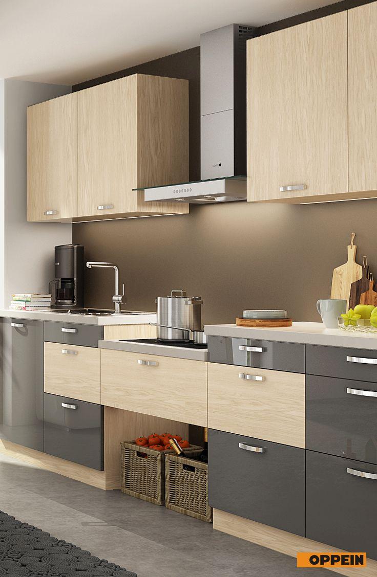 White And Wood Grain I Shaped Kitchen Kitchen Design Kitchen Cabinet Design Kitchen Design Decor