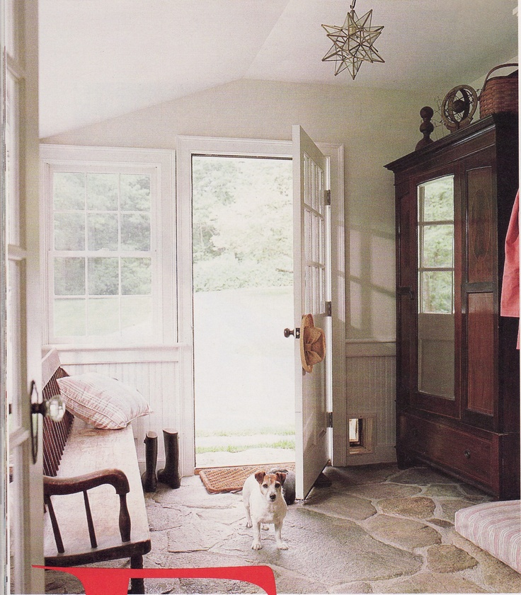 Cottage entry - love the stone floor
