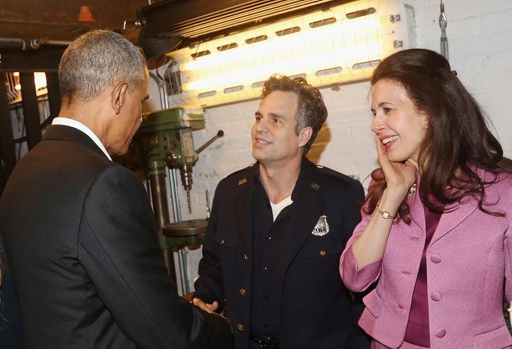 "Mark Ruffalo and Jessica Hecht engage in a conversation with former President Obama while backstage at The Roundabout Theatre Company's production of ""Arthur Miller's The Price"" on Feb. 24, 2017."
