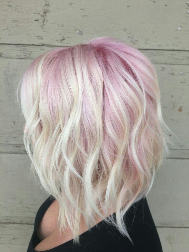 Pastel pink and blonde choppy Bob