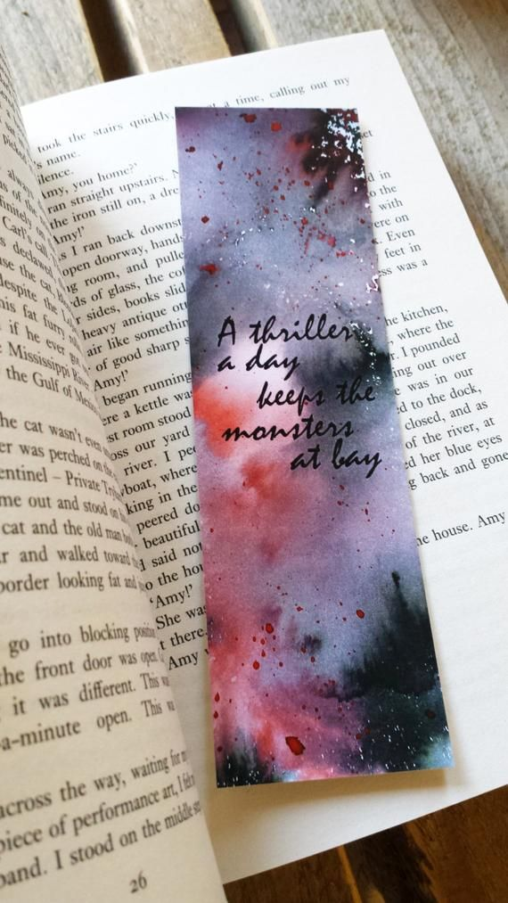 Watercolor Bookmark, Thriller Suspense Bookmark, Paper Bookmark, Handmade Bookmark, Quote Bookmark, Bookmarks, Reading Gift, Book Gift