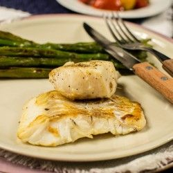 Cod fish with saute asparagus in olive oil or flaxseed oil for type o-positive diet