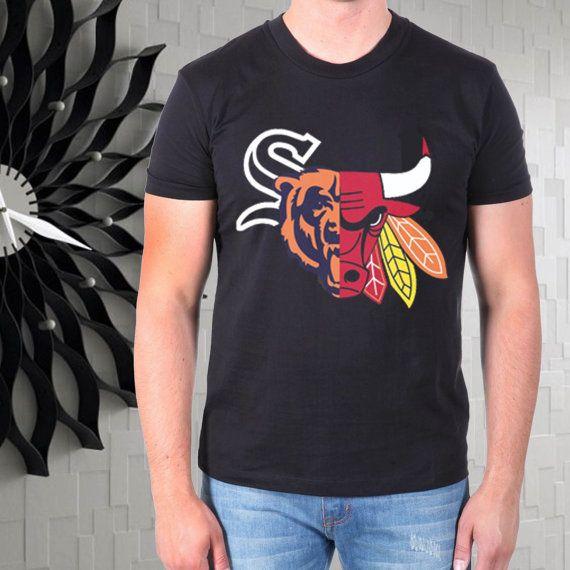 Chicago Blackhawks Bulls men tshirt --- from gajeshop on Etsy