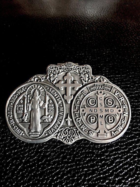 Saint Benedict Medals Visor Clip Catholic Gift Saint Benedict of Nursia Benedictine