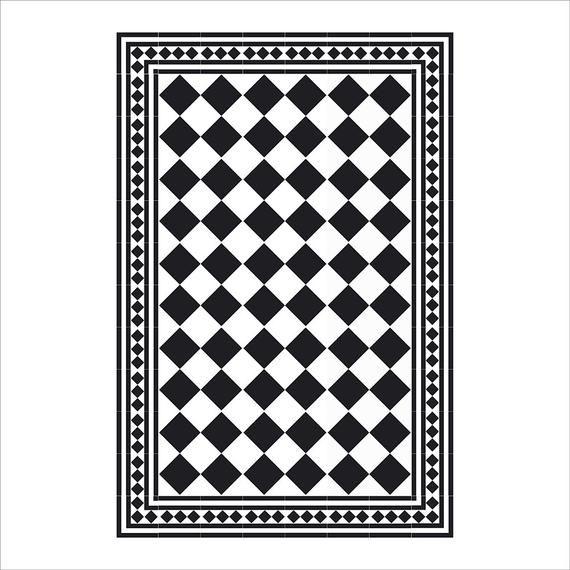 Black White Kitchen Mat Pvc Vinyl Mat Tiles Pattern Etsy Decorative Tile Custom Size Rugs Kitchen Mat