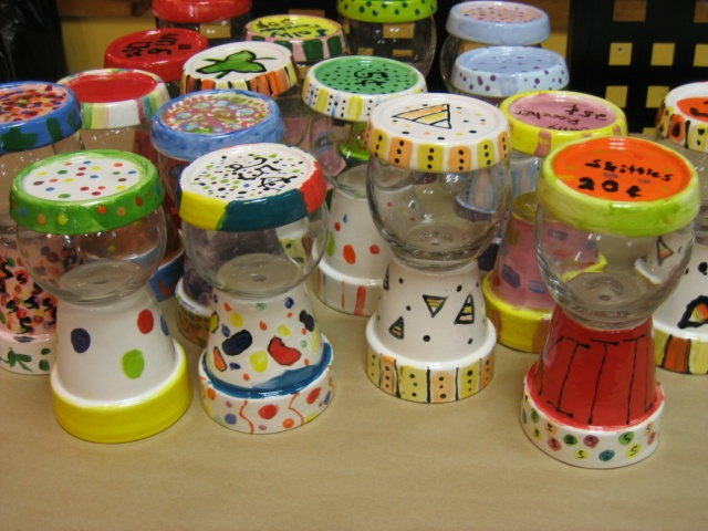 gumball machine from painted flower pots