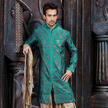 Turquoise Green Art Brocade Readymade Indo Western Suit