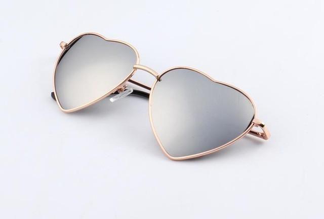 Heart Shaped Sunglasses WOMEN metal Reflective LENES Fashion sun GLASSES