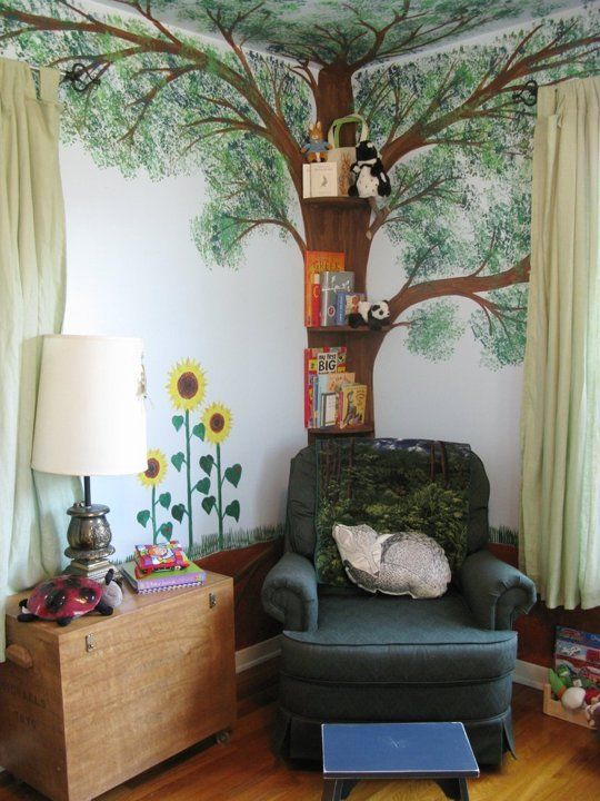 "Just one of three beautiful tree murals in ""Button's"" Three Seasons Nursery"