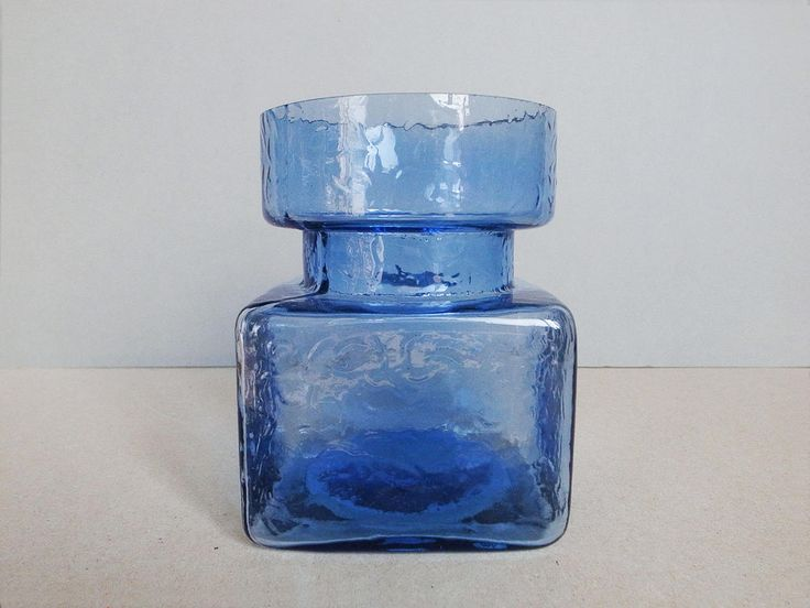 Finnish Vintage Glass Blue Flower Vase by Helena Tynell - Pala Series - for Riihimäen Lasi Oy / Riihimaki Finland by PineBook on Etsy