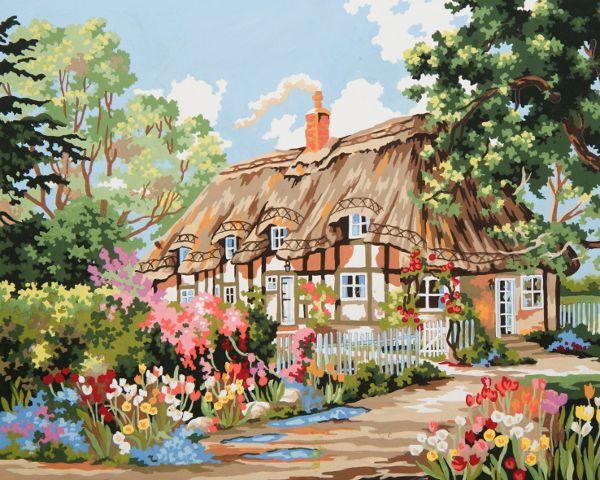 Collection d'Art:11.864 Thatched Cottage - CANVAS ONLY - Penelope Antique Canvas, colour printed design. Canvas size 40cm X 60cm with DMC thread recommendations.