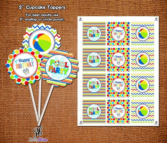 Pool Party Cupcake Toppers Happy Birthday Beach Ball Party