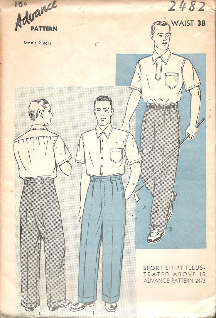 "Vintage 1939 Advance 2482 Men's Slacks Sewing Pattern Size Waist 38"" UNCUT by Recycledelic1 on Etsy"