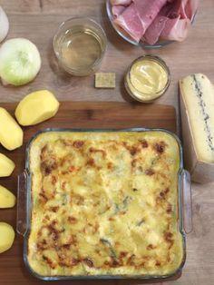 moutarde, fond de volaille, crême fraîche, pomme de terre, jambon blanc, oignon, eau, vin blanc, comté, morbier