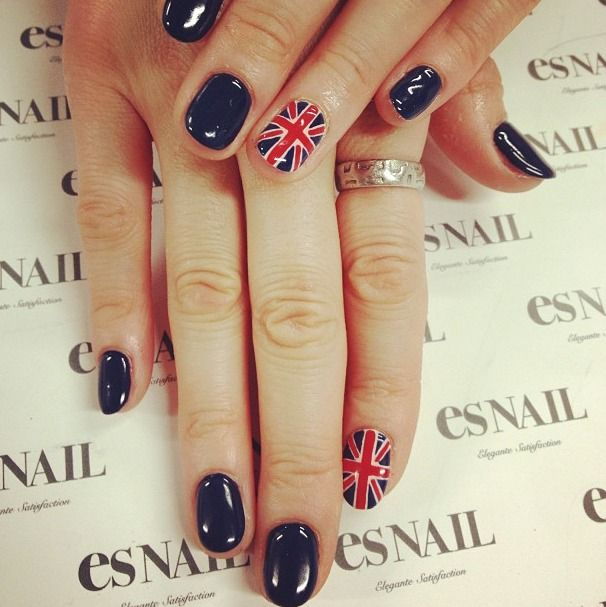 Navy base with Union Jack British flag nail art by esnail - Perfect for London Fashion Week - Nail Polish Colors and Ideas - #nails #beauty