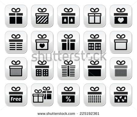 Present, gift box vector buttons set  by RedKoala #christmas #xmas
