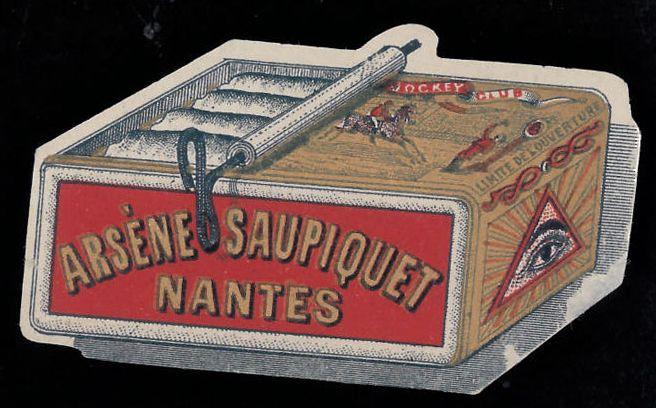 Arsène Saupiquet, dopo il 1891;  pubblicità sardine Arsène Saupiquet, Nantes;  bollo chiudilettera fustellato