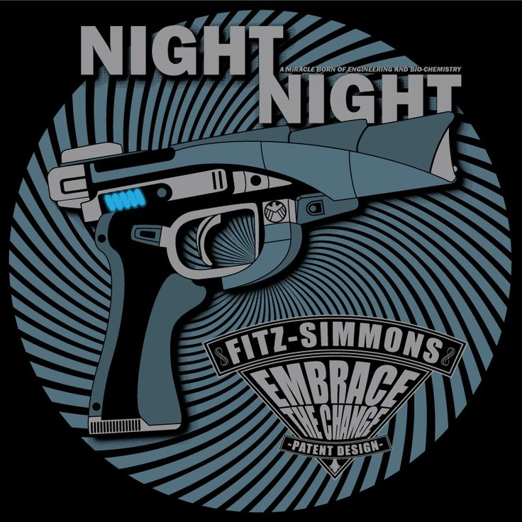 A T-shirt design based on the Agents of SHIELD Night Night gun, created by Fitz and Simmons.  This ois up for voting on Qwertee - http://www.qwertee.com/product/night-night