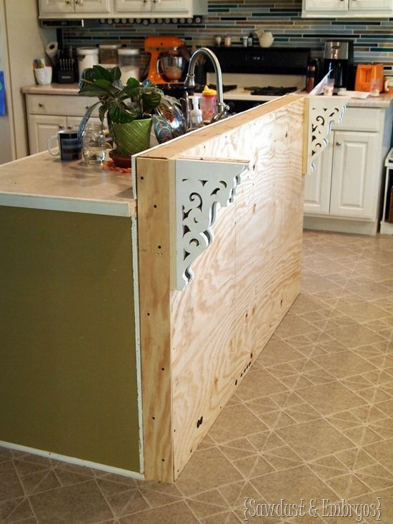 Add a breakfast bar to an existing kitchen island {Sawdust and Embryos