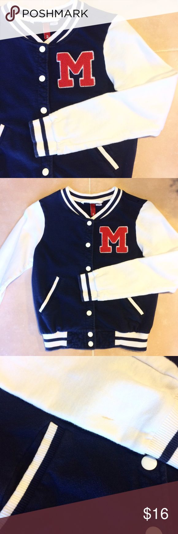 Varsity/Letterman Jacket Navy Blue varsity/letterman jacket from H&M. Obviously preloved, but the only two flaws found are a brown line on the right hand sleeve and a small tear on the left shoulder. Otherwise in good condition!   Bundle or make an offer 😘 Feel free to ask questions! H&M Jackets & Coats