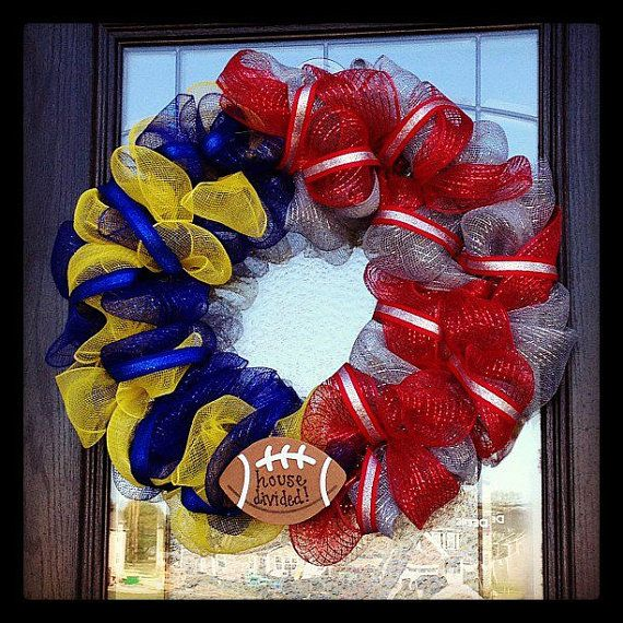 House Divided Wreath by GlamDoorFlair on Etsy, $38.00. Can be made with any sports team!