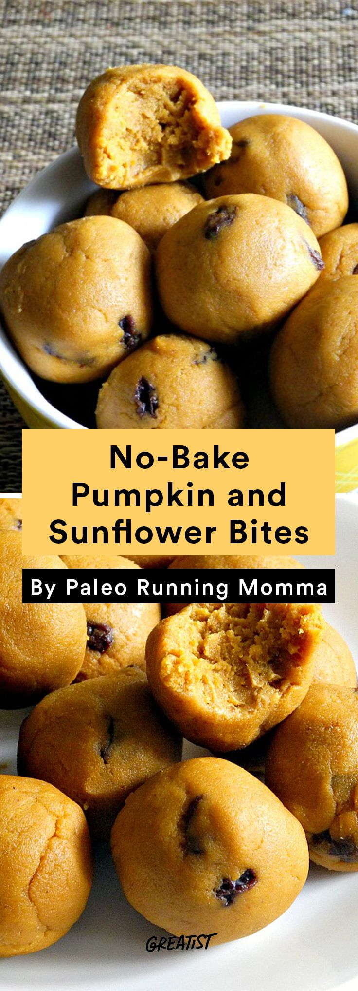 10. No-Bake Pumpkin and Sunflower Bites #healthy #travel #snacks http://greatist.com/eat/healthy-snack-recipes-to-take-on-vacation