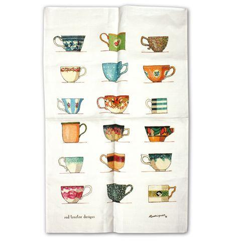 Rodriquez - Red Tractor Designs Cups Tea Towel
