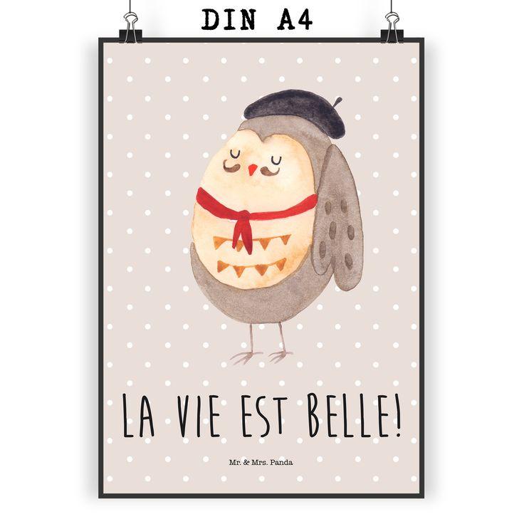 poster din a4 eule französisch aus papier 160 gramm weiß
