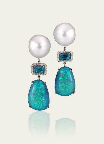 Pearl, opal and blue zircon earrings by Tamsen Z