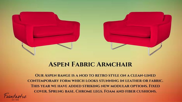 Content by Terence Conran Aspen Fabric Armchair #FabricArmchair #Sofa #AssembledArmchair Our Aspen range is a nod to retro style on a clean-lined contemporary form which looks stunning in leather or fabric. This year we have added striking new modular options. Fixed cover. Sprung base. Chrome legs. Foam and fiber cushions.  Dimensions - W 110cm x D 92cm x H 70cm Assembly - Assembled