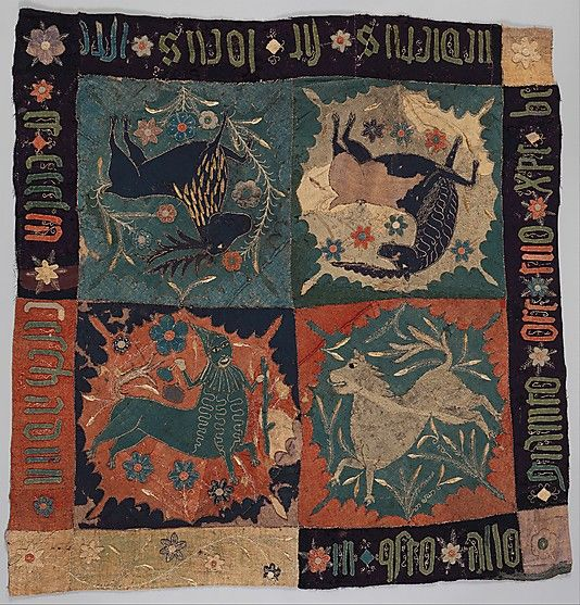 Textile Fragment with Unicorn, Deer, Centaur and Lion (Wool intarsia and applique with gilt leather and linen embroidery) Scandinavia, c. 1500
