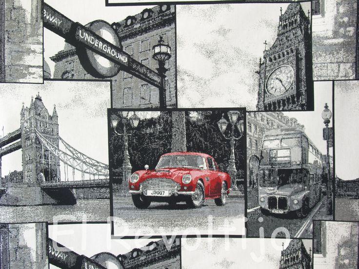 Tela de tapicer a con motivos londinenses telas - Telas tapiceria madrid ...