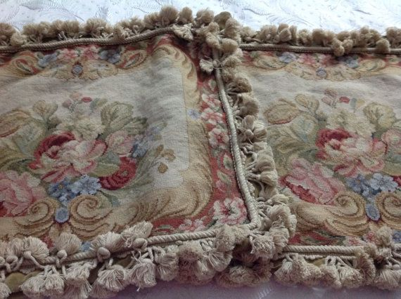Antieke Franse zeldzame tapestry oude tapijt textiel kussens zeldzame hand geborduurd 19e Centurey tapijt Frans home decore