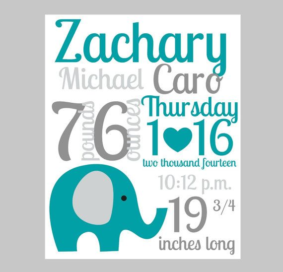 elephant nursery art print decor, animal nursery custom birth stats subway art,teal gray nursery wall art, elephant nursery on Etsy, $12.00