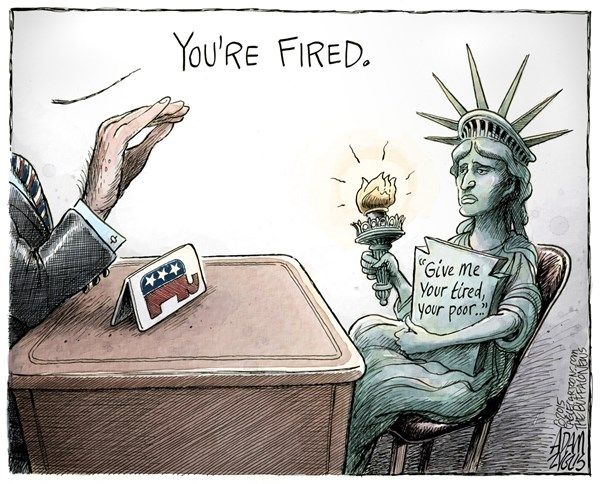 Image result for Cartoon DonaldTrump  immigrant ban